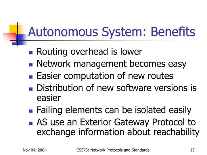 Autonomous System: Benefits