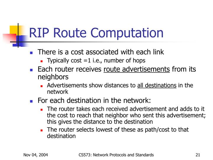 RIP Route Computation