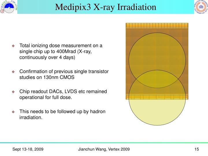 Medipix3 X-ray Irradiation