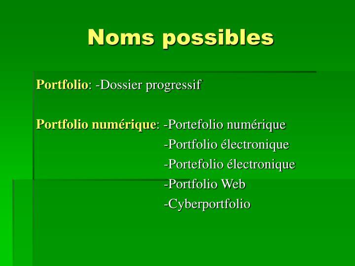 Noms possibles