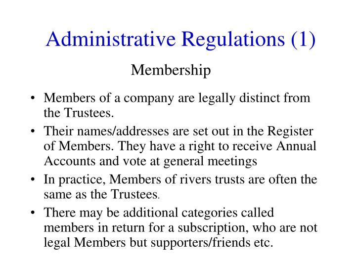 Administrative Regulations (1)