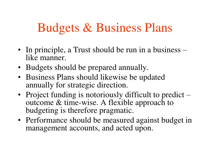 Budgets & Business Plans