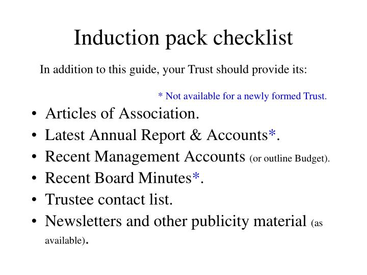 Induction pack checklist