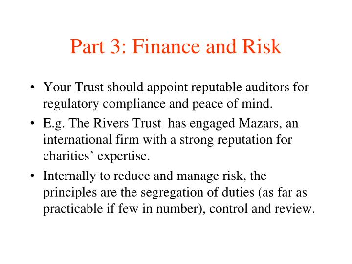 Part 3: Finance and Risk