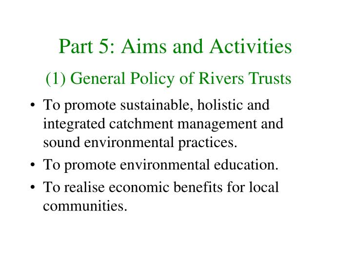Part 5: Aims and Activities