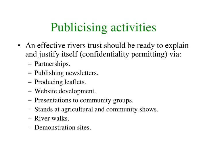 Publicising activities