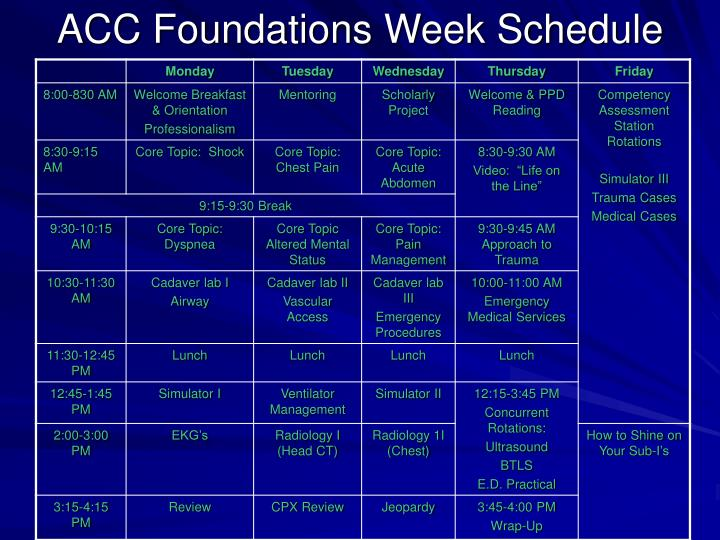 ACC Foundations Week Schedule