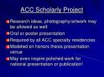 acc scholarly project