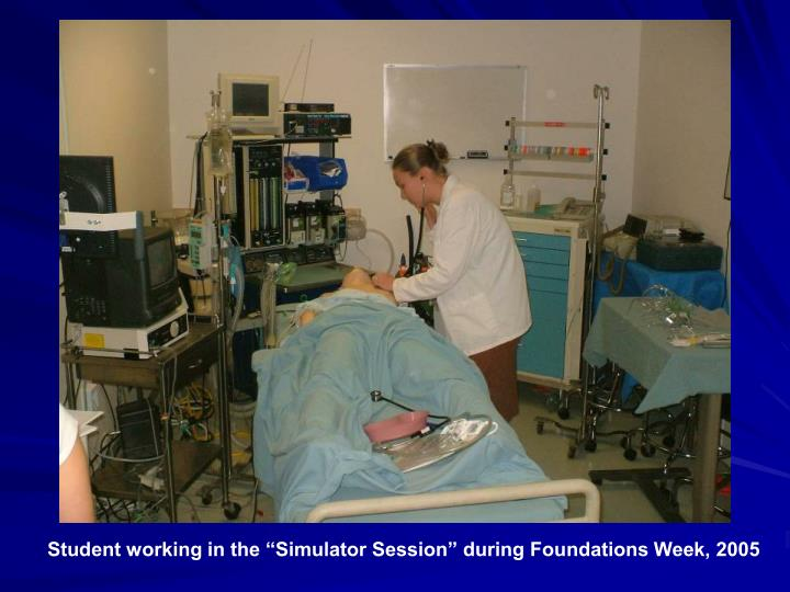 "Student working in the ""Simulator Session"" during Foundations Week, 2005"