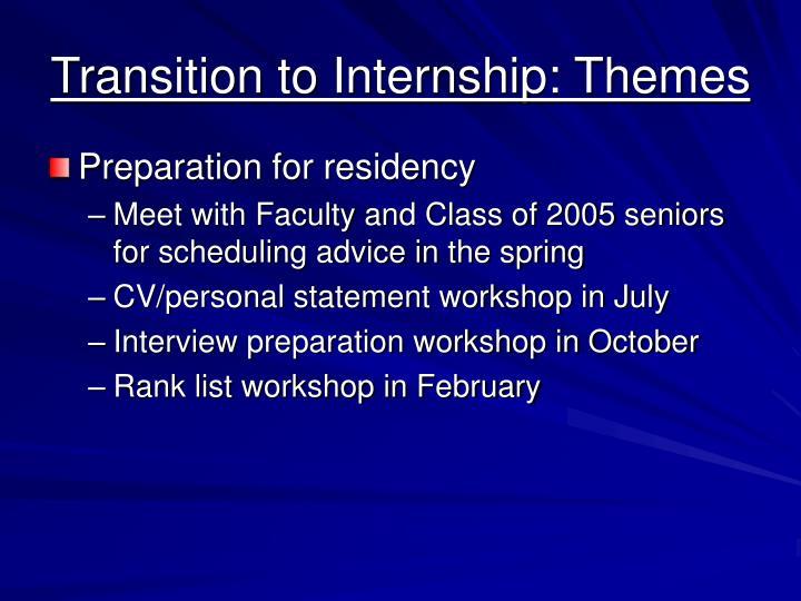 Transition to Internship: Themes