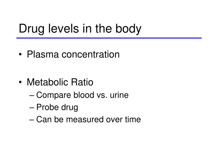 Drug levels in the body