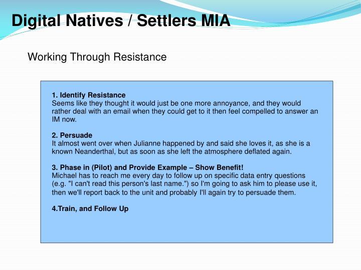 Digital Natives / Settlers MIA