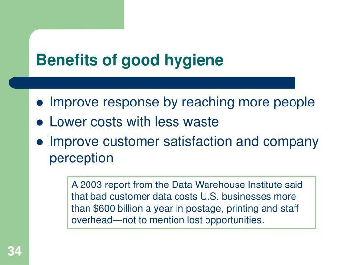 Benefits of good hygiene