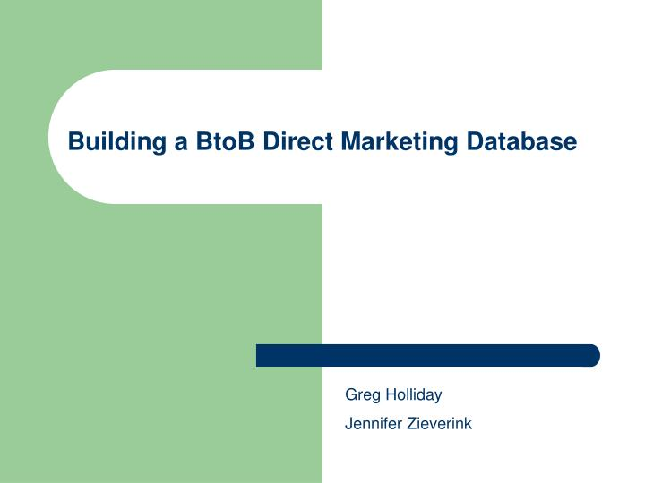 Building a BtoB Direct Marketing Database