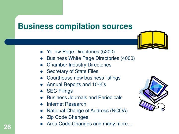 Business compilation sources