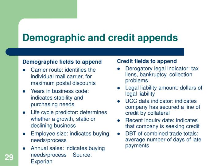 Demographic fields to append