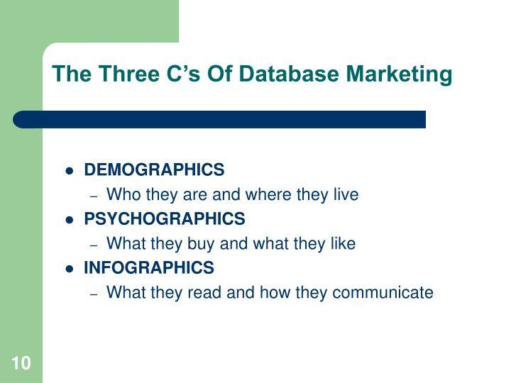 The Three Cs Of Database Marketing