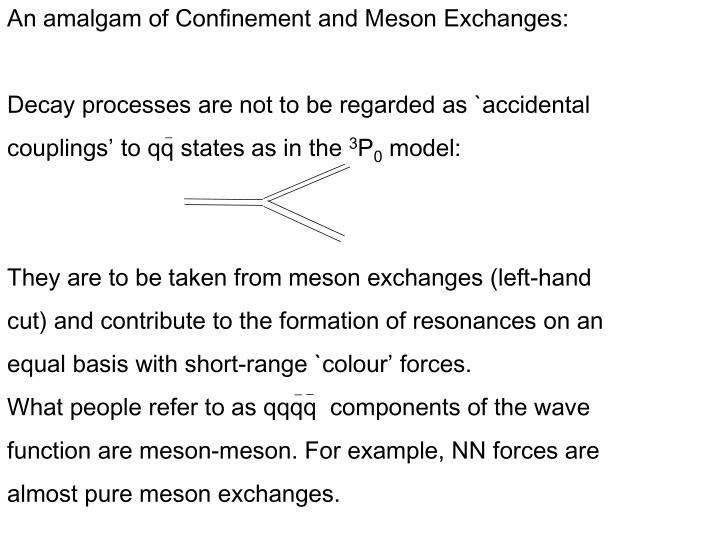 An amalgam of Confinement and Meson Exchanges: