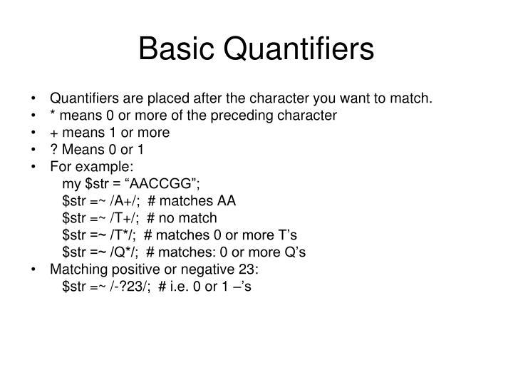 Basic Quantifiers