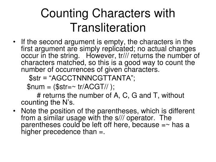 Counting Characters with Transliteration