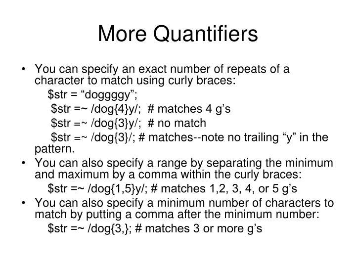 More Quantifiers