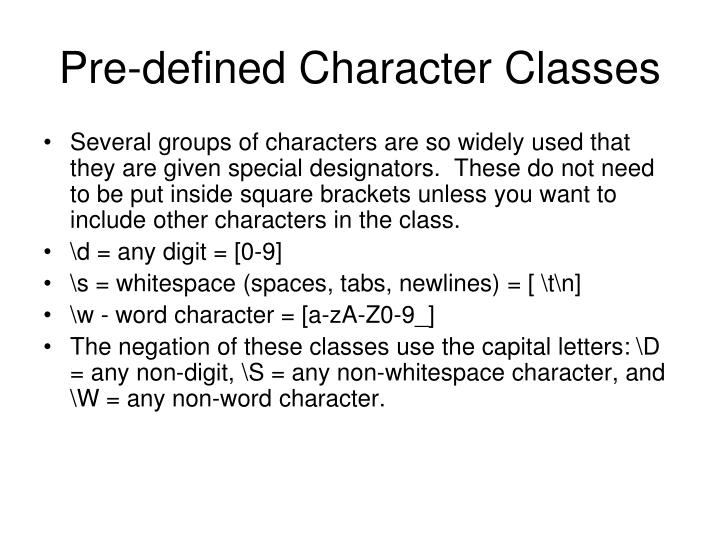 Pre-defined Character Classes
