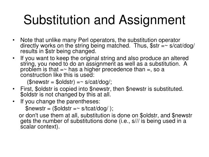 Substitution and Assignment