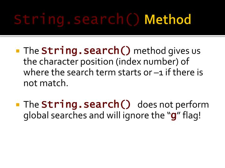 String.search()