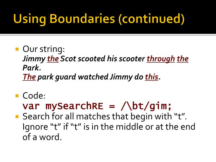 Using Boundaries (continued)