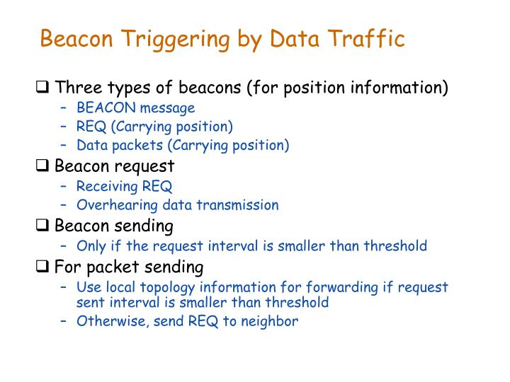 Beacon Triggering by Data Traffic
