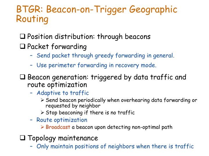BTGR: Beacon-on-Trigger Geographic Routing