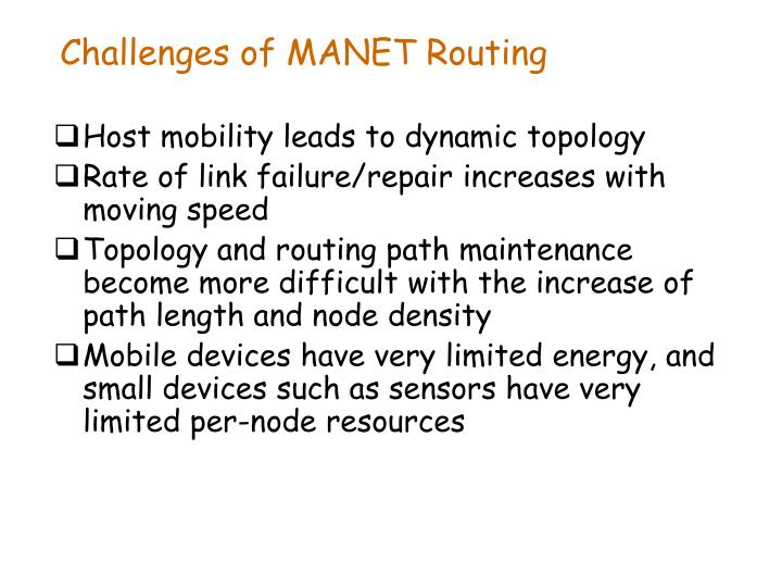 Challenges of MANET Routing