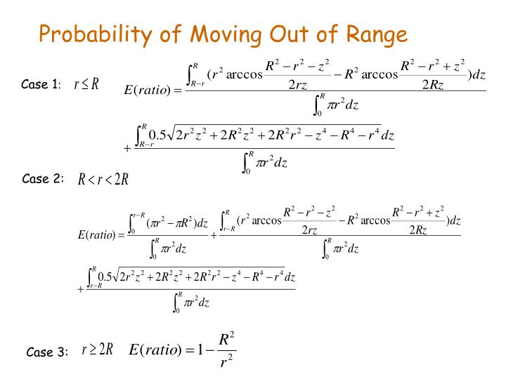 Probability of Moving Out of Range