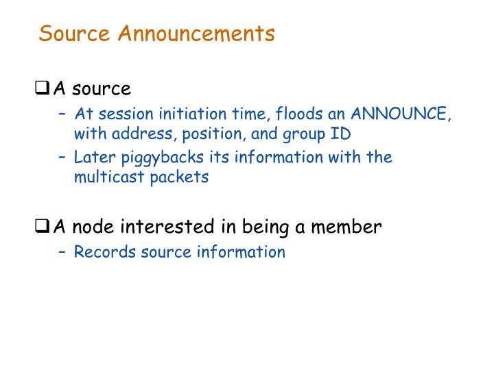 Source Announcements