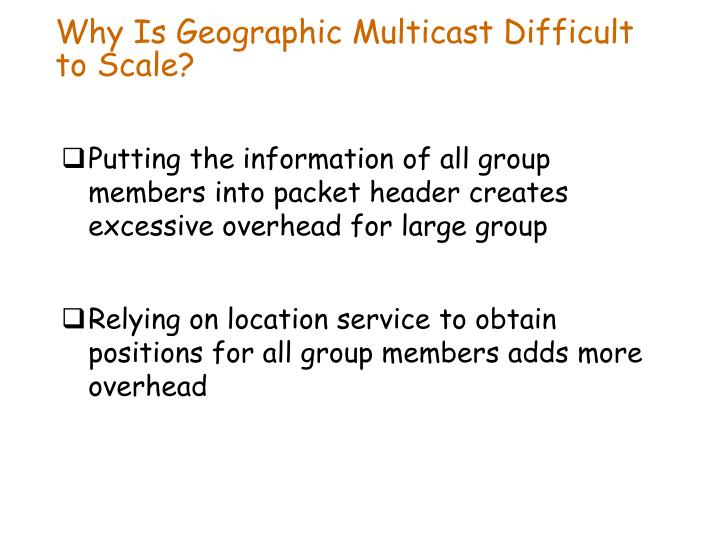 Why Is Geographic Multicast Difficult to Scale?