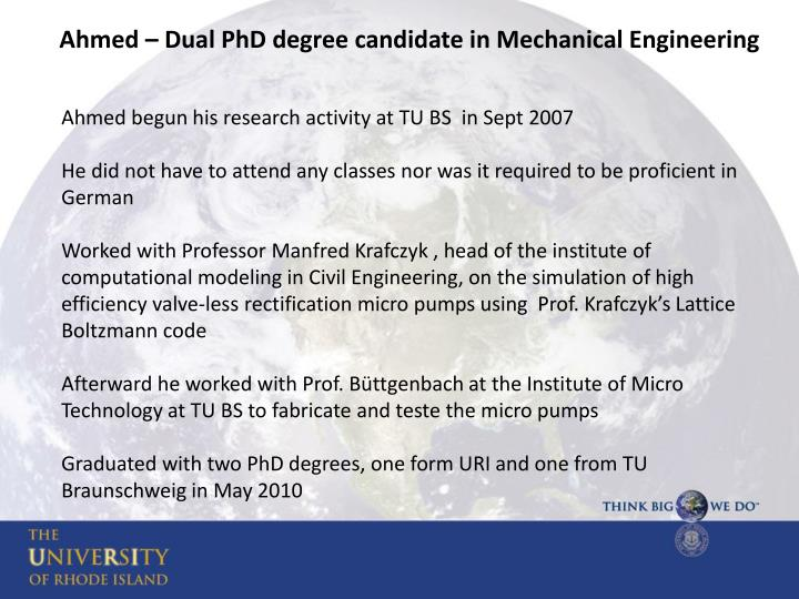 Ahmed – Dual PhD degree candidate in Mechanical Engineering
