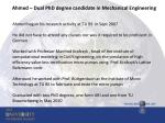 ahmed dual phd degree candidate in mechanical engineering