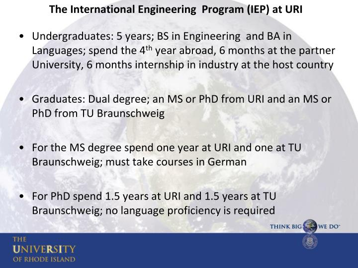 The International Engineering  Program (IEP) at URI