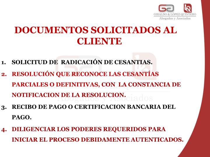 DOCUMENTOS SOLICITADOS AL CLIENTE