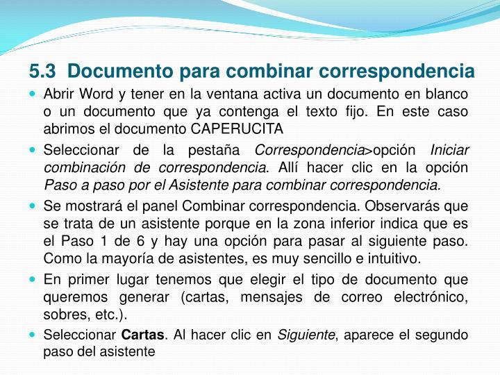5.3  Documento para combinar correspondencia