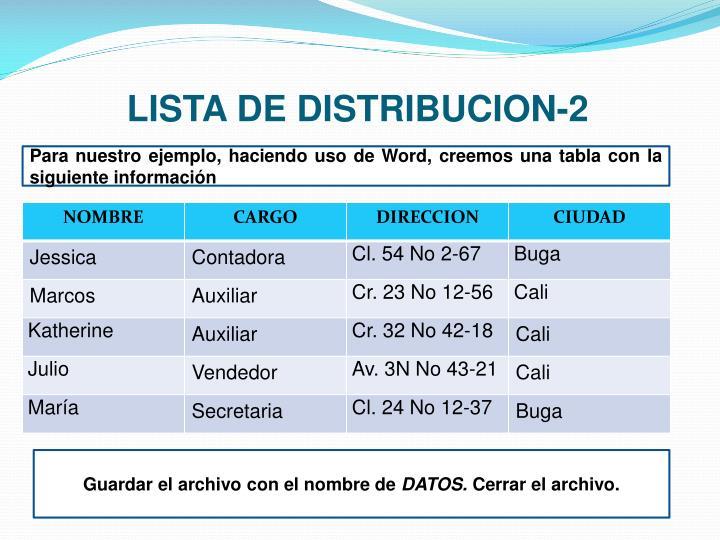 LISTA DE DISTRIBUCION-2