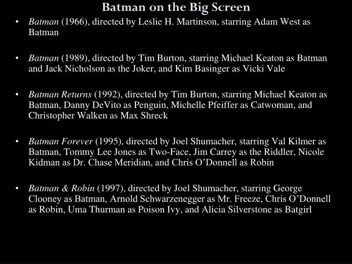 Batman on the Big Screen