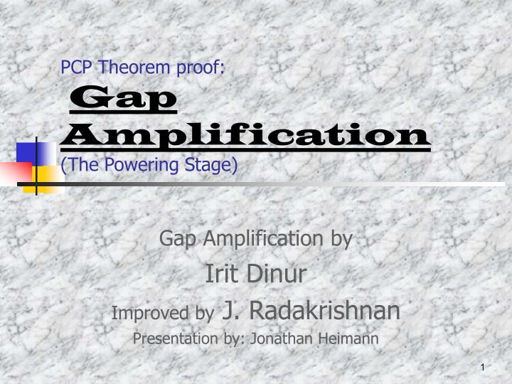 Pcp theorem proof gap amplification the powering stage