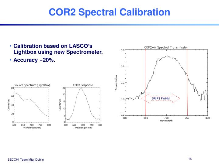 COR2 Spectral Calibration