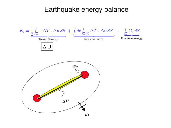 Earthquake energy balance