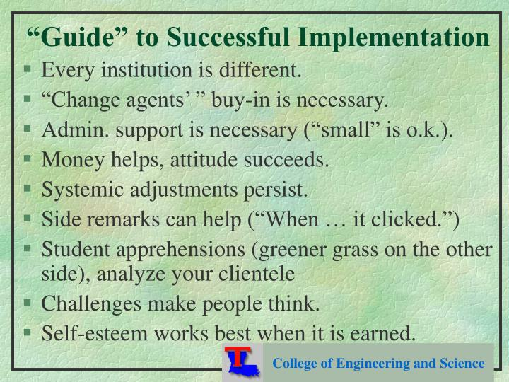 """Guide"" to Successful Implementation"