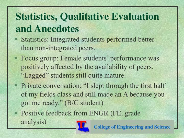 Statistics, Qualitative Evaluation and Anecdotes