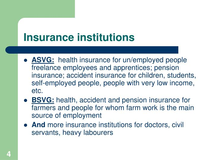 Insurance institutions