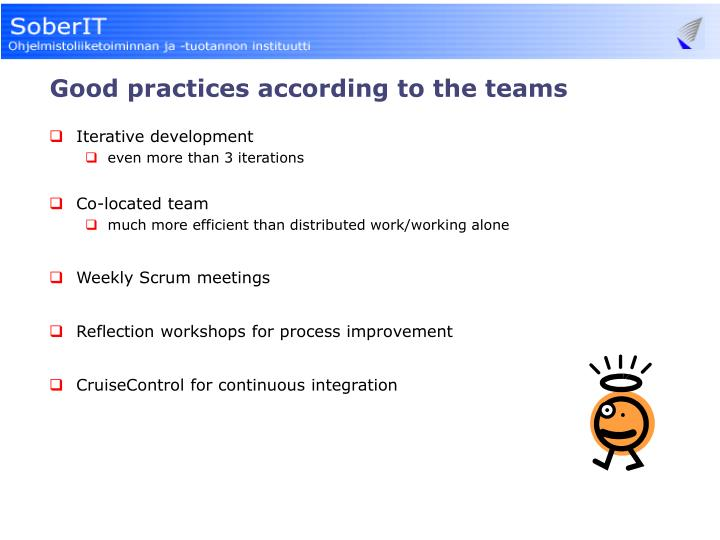 Good practices according to the teams