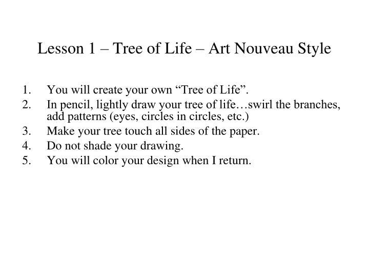 Lesson 1 – Tree of Life – Art Nouveau Style